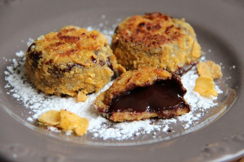 nuggets de chocolat coulant et corn flakes
