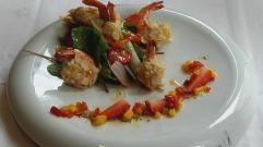 joa, salade crevette en tempura et amande, institut paul bocuse