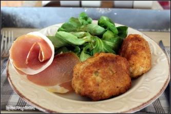 suppli al telefono risotto aux asperges, arancini mozzarella