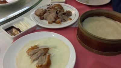 canard laqué, crêpes chinoises