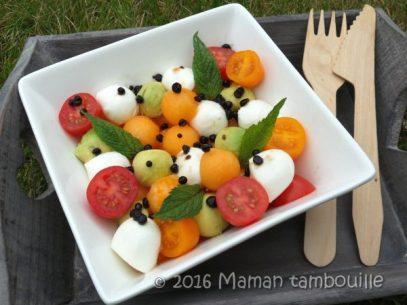 meli-melo-melon-avocat, billes vinaigre balsamique