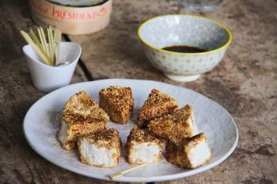 camembert pané au sésame, apéro, tapas, recette facile, express, rapide, sharing cuisine, blog culinaire lyon, blog cuisine lyon, végétarien